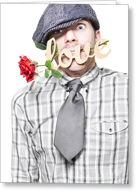 Funny Man Saying Sorry With Love And A Red Rose Greeting Card by Jorgo Photography - Wall Art Gallery