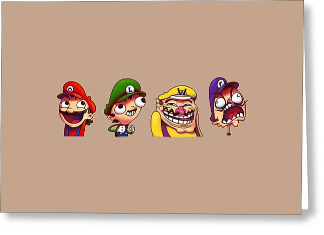 Funny Mario And Friends                   Greeting Card by F S