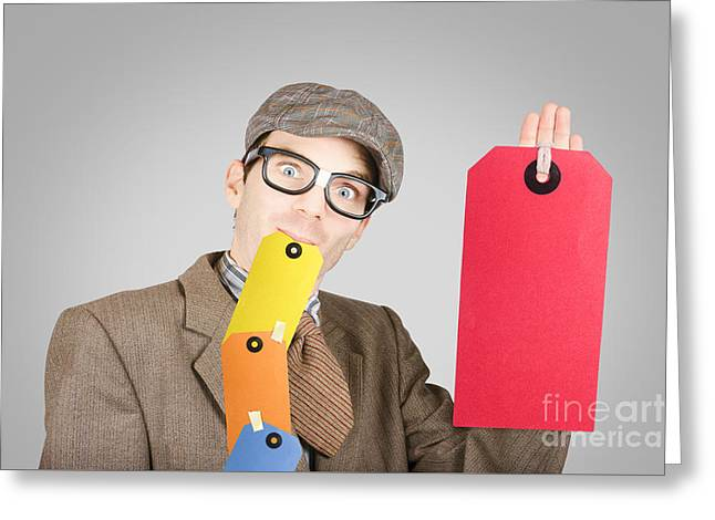 Funny Marketing And Sales Businessman Greeting Card by Jorgo Photography - Wall Art Gallery