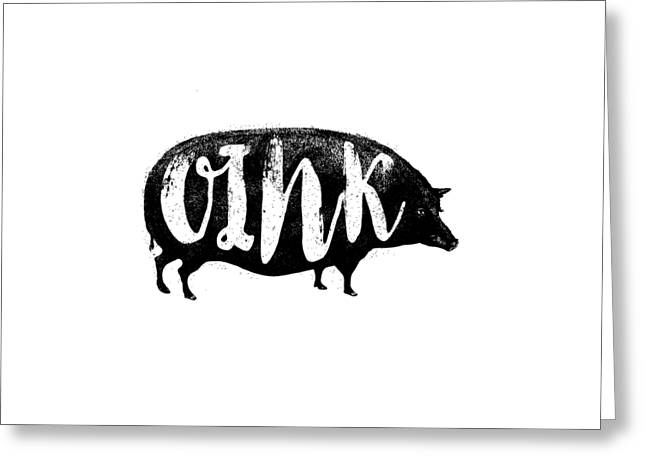 Funny Oink Pig Greeting Card by Antique Images