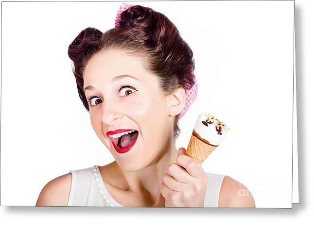 Funny Pinup Girl With Ice Cream In Isolated Studio Greeting Card by Jorgo Photography - Wall Art Gallery