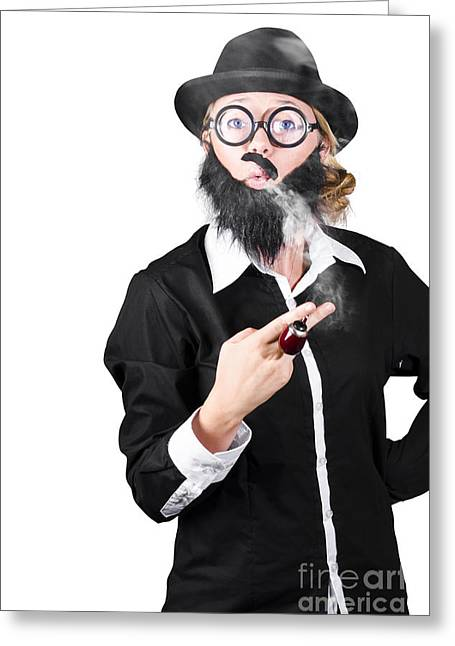 Funny Portrait Of Disguised Woman Smoking Greeting Card