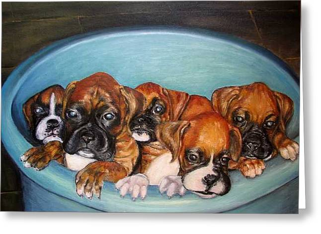 Funny Puppies Orginal Oil Painting Greeting Card by Natalja Picugina