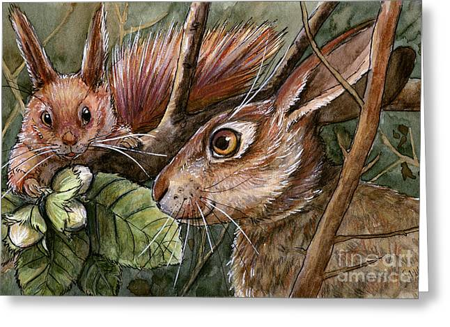 Funny Rabbits - Hazel Nuts From The Squirrel Greeting Card by Svetlana Ledneva-Schukina