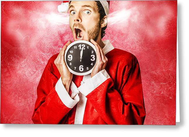 Funny Santa In A Crazy Mad Christmas Rush Greeting Card