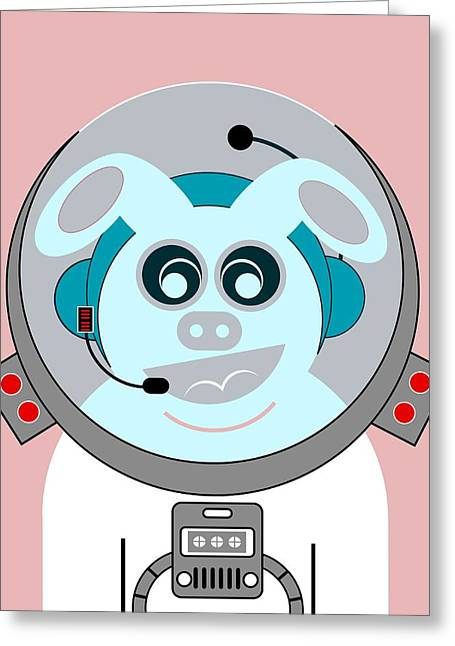 Funny Space Bunny Vector Art Greeting Card
