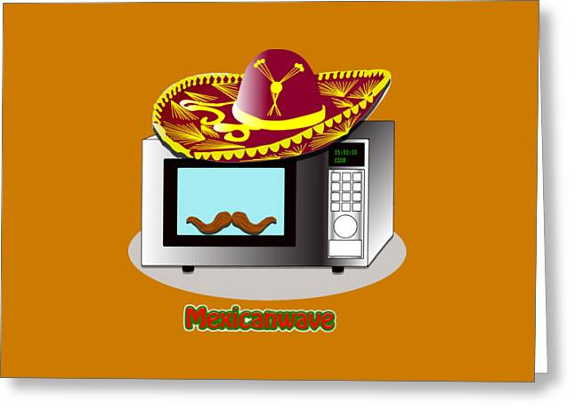 Funny Design Puns Mexican Wave Microwave Greeting Card