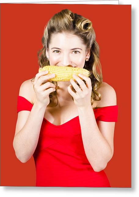 Funny Vegetable Woman With Corn Cob Smile Greeting Card