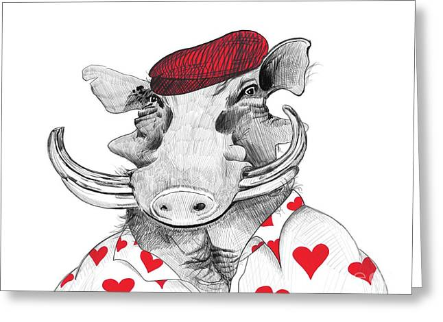 Funny Warthog Pig In Love Greeting Card