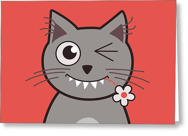 Funny Winking Cartoon Kitty Cat Greeting Card by Boriana Giormova