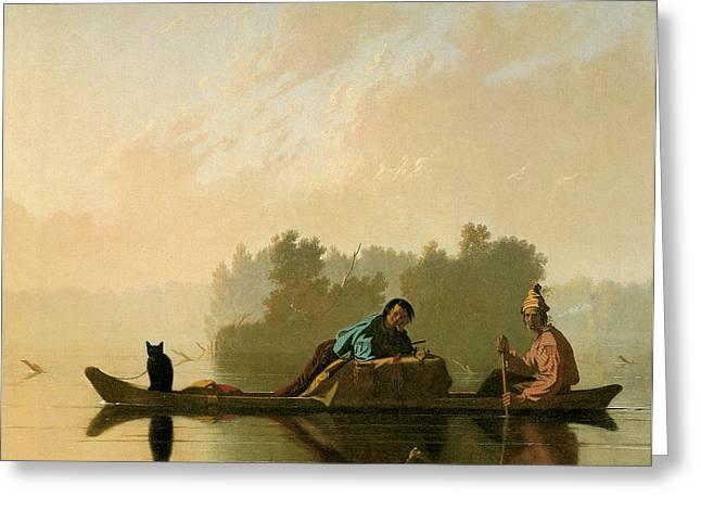 Fur Traders Descending The Missouri Greeting Card by George Caleb Bingham