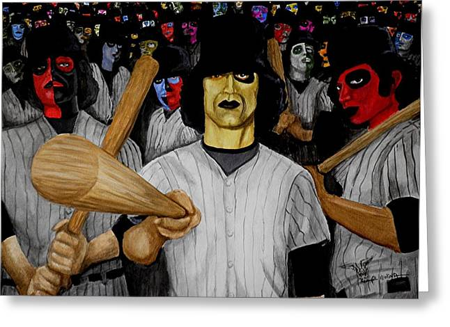 Baseball Paintings Greeting Cards - Furies up to Bat Greeting Card by Al  Molina