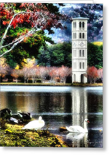 Furman University Bell Tower Greeting Card by Lynne Jenkins