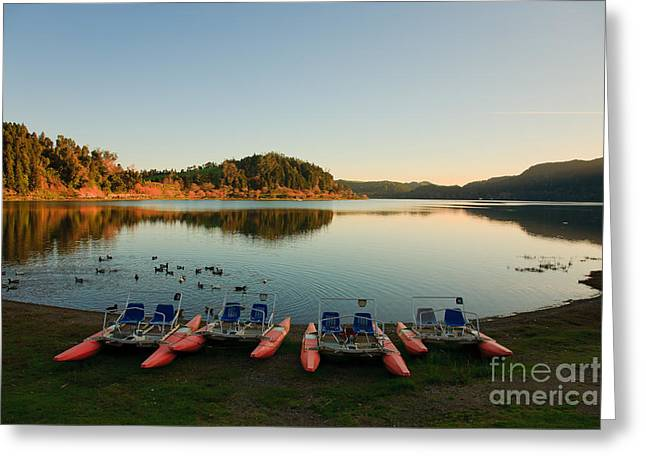 Furnas Lake At Sunset Greeting Card by Gaspar Avila