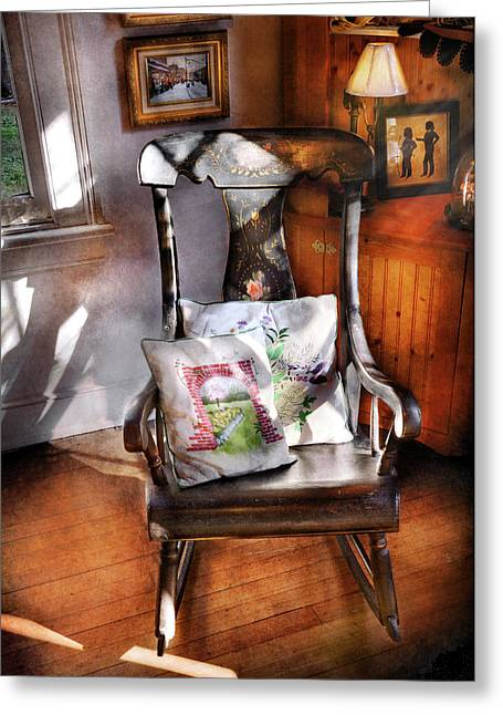 Furniture - Chair - Grannies Rocking Chair  Greeting Card by Mike Savad