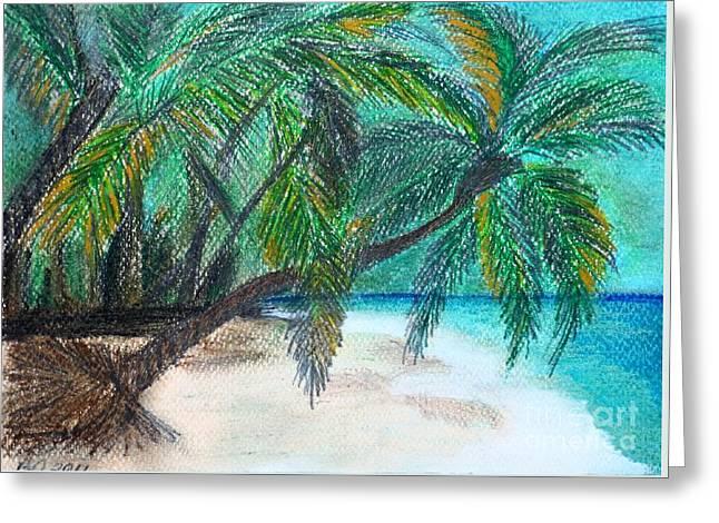 Further Down The Beach Greeting Card by Barbara Donovan