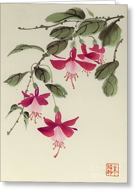 Fuschia Pink Greeting Card by Yolanda Koh