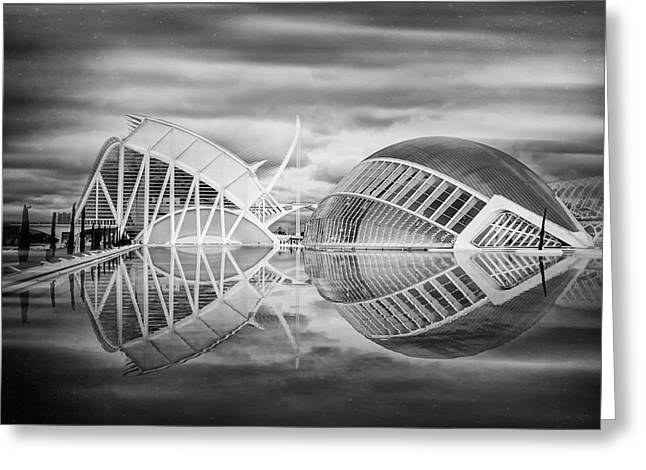Futuristic Architecture Of Modern Valencia Spain In Black And Wh Greeting Card by Carol Japp