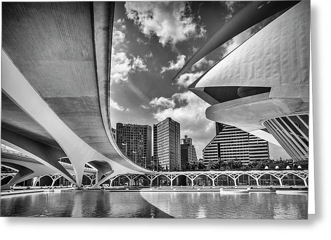 Futuristic Architecture Of Valencia Spain In Black And White  Greeting Card