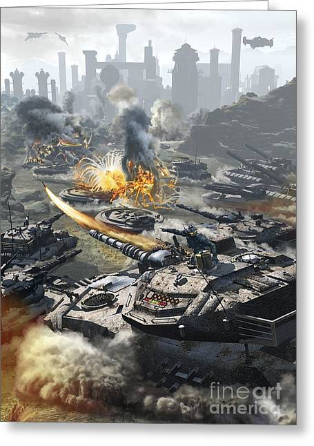 Futuristic Hover Tank Assaulting Greeting Card