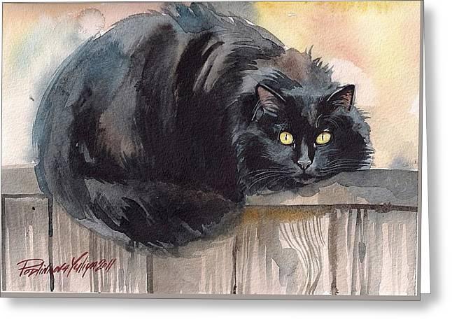 Fuzzy Black Cat Greeting Card by Yuliya Podlinnova
