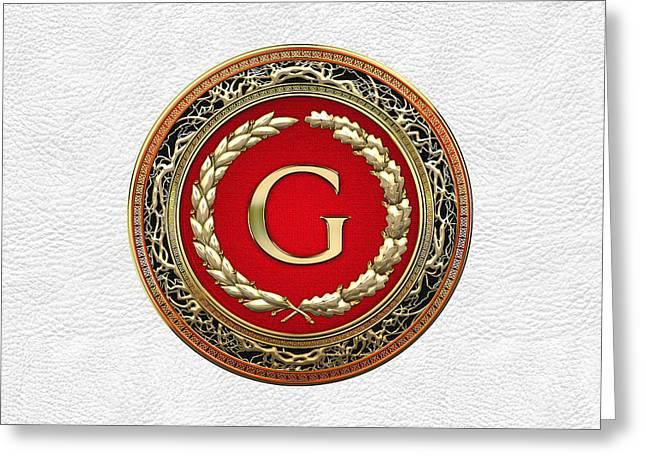 G - Gold Vintage Monogram On White Leather Greeting Card