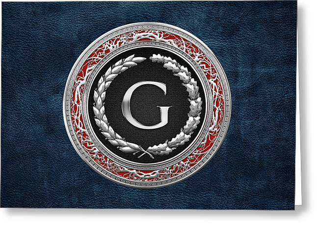 G - Silver Vintage Monogram On Blue Leather Greeting Card