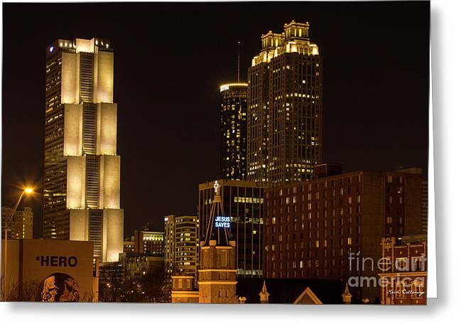 Ga Pacific Tower Jesus Saves Atlanta Cityscapes Art Greeting Card