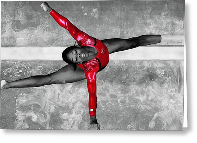 Gabby Douglas Greeting Card by Brian Reaves