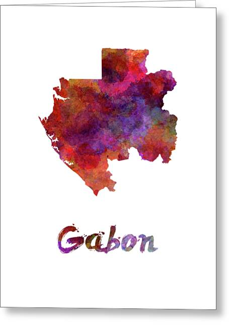 Gabon In Watercolor Greeting Card by Pablo Romero