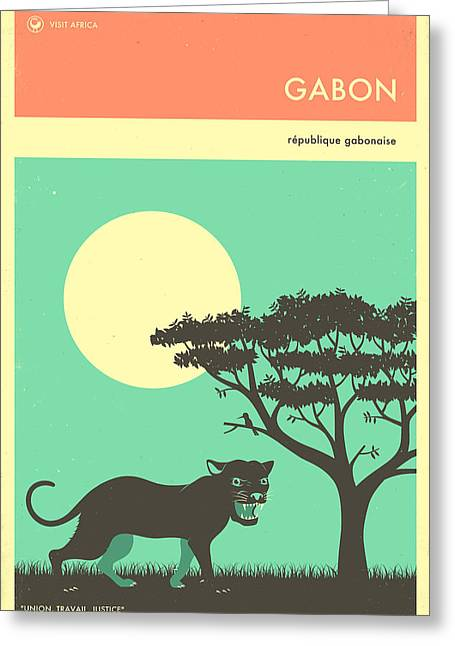 Gabon Travel Poster Greeting Card by Jazzberry Blue