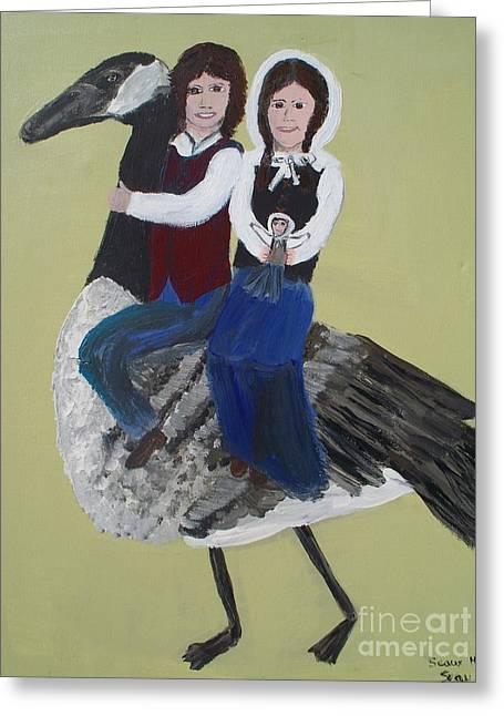 Gabriel And Evangeline On A Canadian Goose Greeting Card by Seaux-N-Seau Soileau