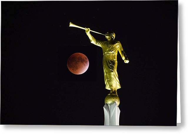 Gabriel Trumpeting The Blood Moon Eclipse Greeting Card