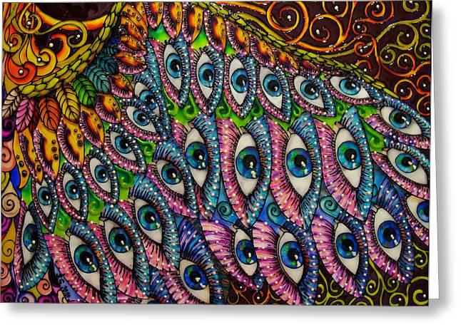 Swirl Glass Art Greeting Cards - Gabriel Wing Greeting Card by Gabriela Stavar