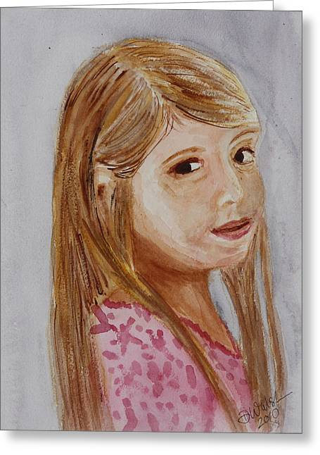 Greeting Card featuring the painting Gabriella by Donna Walsh
