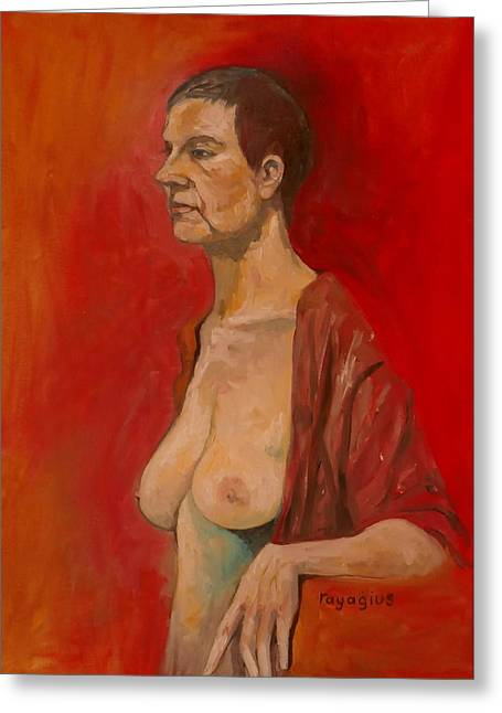 Greeting Card featuring the painting Gabrielle Standing by Ray Agius