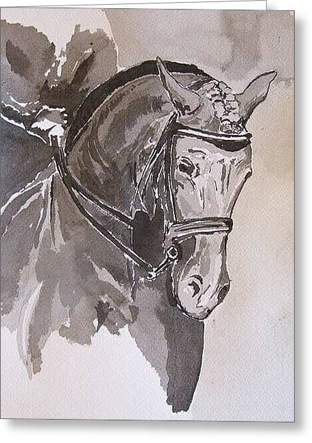 Dressage Drawings Greeting Cards - Gainsborough Donner Bella  Greeting Card by Adrian McMillan