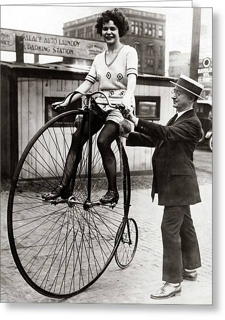 Gal On A Velocipede - Chicago 1922 Greeting Card