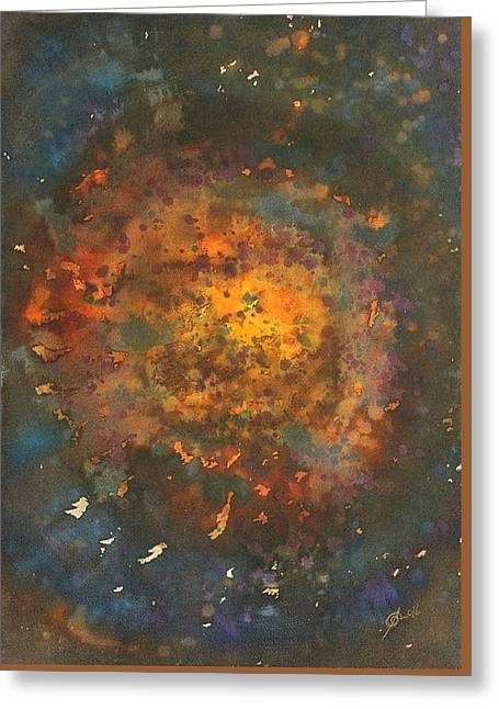 Galactica Original Painting Greeting Card by Sol Luckman