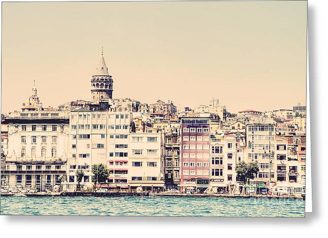 Galata Tower Along The Bosphorus Greeting Card by Emily Kay