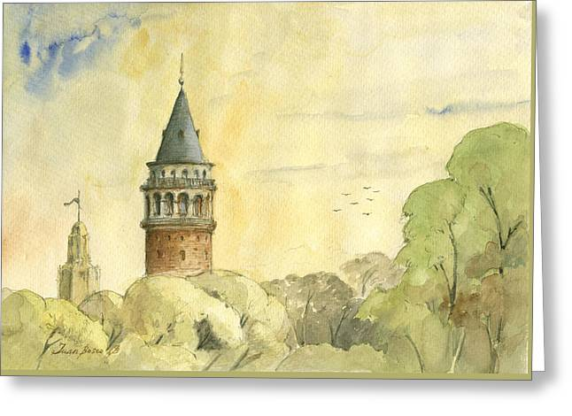 Galata Tower Istanbul Greeting Card by Juan Bosco