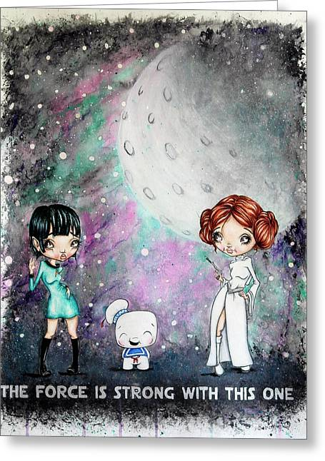 Galaxy Cosplay Greeting Card by Lizzy Love