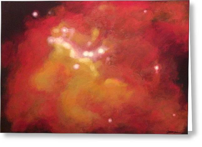 Galaxy M20 Possible Merging Of 2 Black Holes Greeting Card by Jim Ellis