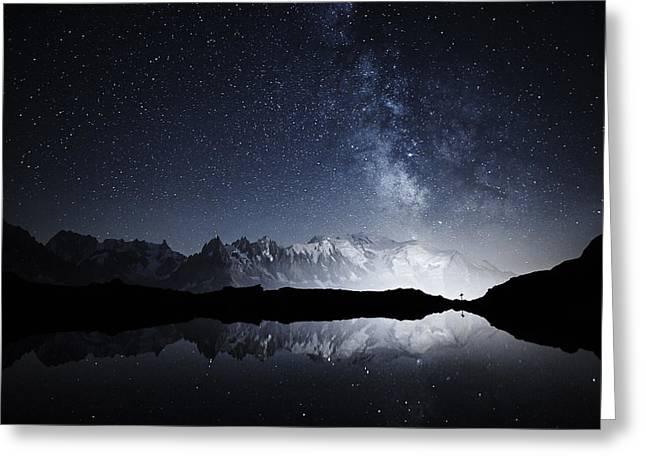 Galaxy On A High Mountain Greeting Card