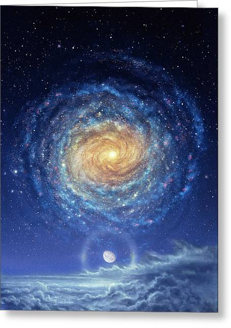 Galaxy Rising Greeting Card by Don Dixon