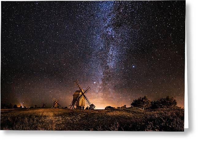 Galaxy Rising Greeting Card by Jorgen Tannerstedt