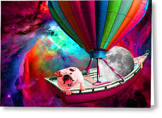 Pet Greeting Cards - Galaxy Space Dog Greeting Card by Tisha McGee