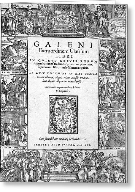 Galen, Opera Omnia, Title Page, 1556 Greeting Card by Wellcome Images