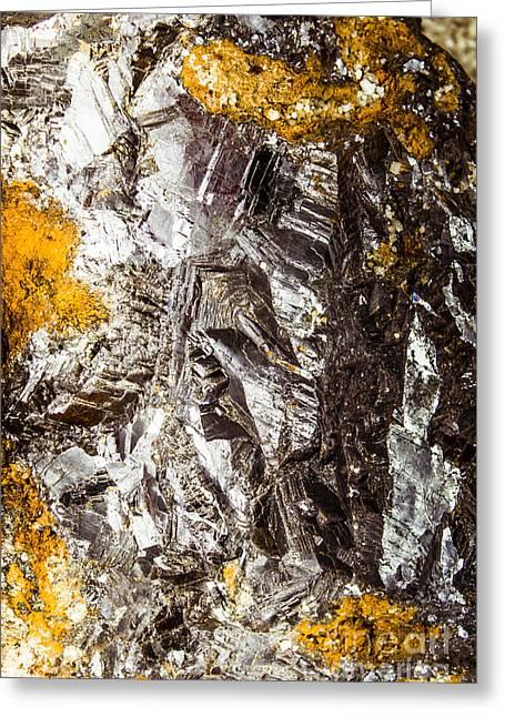 Galena Metallic Ore Closeup Greeting Card by Jorgo Photography - Wall Art Gallery
