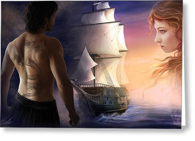 Galeon On The Horizon Greeting Card by Sonia Verdu
